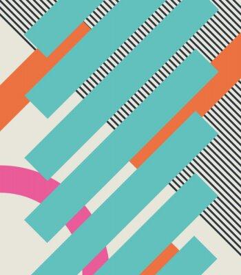 Naklejka Streszczenie 80s retro tło z geometrycznych kształtów i wzoru. Projektowania materiałów.