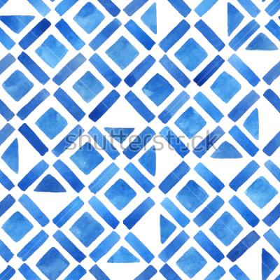 Naklejka Streszczenie akwarela geometryczne dachówka. Wzór w kolorze niebieskim