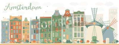 Naklejka Streszczenie Amsterdam panoramę miasta z kolorowymi budynkami. Ilustracji wektorowych. Koncepcja podróży i turystyki biznesowej z zabytkowymi budynkami. Obraz do prezentacji, banner, plakat i witryny
