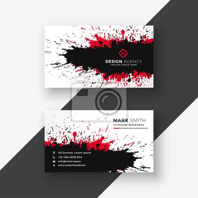 streszczenie atrament powitalny czerwony czarny projekt wizytówki