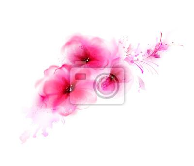 Streszczenie bukiet z różowy kwiat i elementów konstrukcyjnych