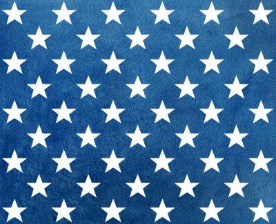 Naklejka Streszczenie ciemny niebieski akwarela wzór z białymi gwiazdami.