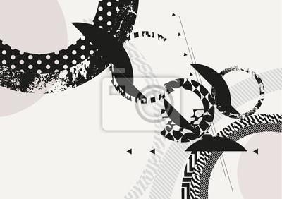 Naklejka Streszczenie czarne i białe tło geometryczne
