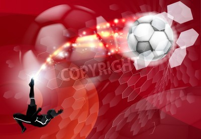 Streszczenie czerwonym tle soccer sport szczegółowe sylwetka piłkarz kopanie piłki nożnej, rozbijając go przez abstrakcyjny cel netto