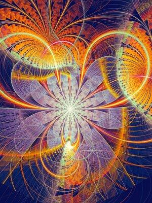 Naklejka Streszczenie generowany komputerowo obraz paski kwiat