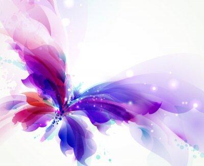 Streszczenie latający motyl z plamami niebieski, fioletowy i cyjan