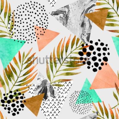 Naklejka Streszczenie lato geometryczny wzór. Trójkąty z liśćmi palmowymi i marmurowymi teksturami grunge. Abstrakcjonistyczny geometryczny tło w retro rocznika 80s 90s pop-artu. Ręcznie rysowane lato naturaln