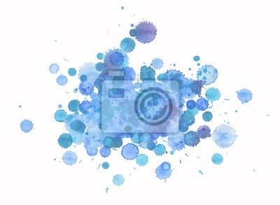 Streszczenie niebieskie i fioletowe plamy, akwarela ręcznie malowane tekstury, odizolowane na białym tle.