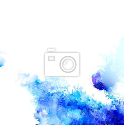 Streszczenie niebieskim tle z plamami składzie akwarelowych i błękitny motyl.