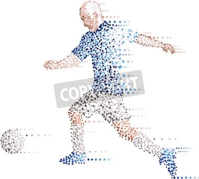 Streszczenie nowoczesne kropki piłka nożna piłkarz, kopać piłkę