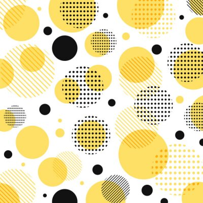Naklejka Streszczenie nowoczesne żółte, czarne kropki wzór z linii po przekątnej na białym tle.