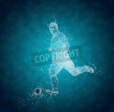 Streszczenie piłka nożna (soccer) Odtwarzacz kopie piłkę. Efekt Kryształ lodu