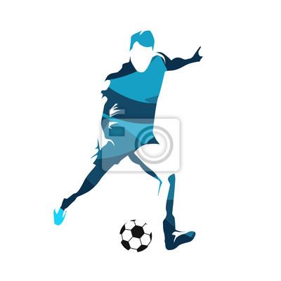 Streszczenie piłkarz kopanie piłki, sylwetka wektor