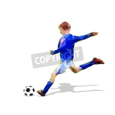 Streszczenie piłkarz. Kopiąc piłkę. Poligonalny gracz piłki nożnej, geometryczna błękitna gracz futbolu sylwetka