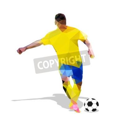 Streszczenie piłkarz. Kopiąc piłkę. Poligonalny gracz piłki nożnej, geometryczna żółta gracz futbolu sylwetka