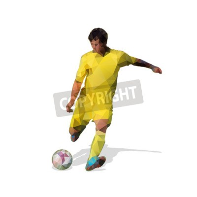 Streszczenie piłkarz. Kopiąc piłkę. Poligonalny gracz piłki nożnej, geometryczna żółta wektorowa gracz futbolu sylwetka