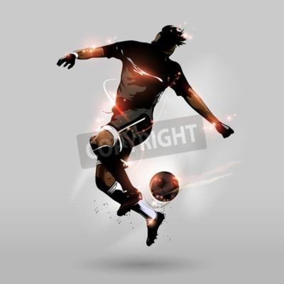 streszczenie piłkarz skoki dotknąć piłkę nożną w powietrzu