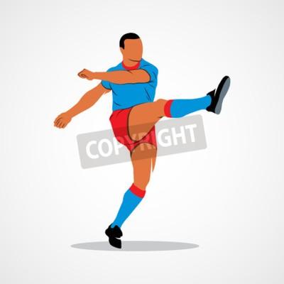 Streszczenie piłkarz szybkie strzelanie piłkę rugby. Identyfikacja wizualna Corporate design template Pojedynczo na białym tle.