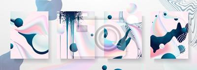 Naklejka Streszczenie płynne szablony kreatywne, karty, zestaw pokrowców kolorów. Geometryczny wzór, płyny, kształty. Modna kolekcja wektor. Pastelowy i neonowy projekt, geometryczny płynny graficzny kształt w