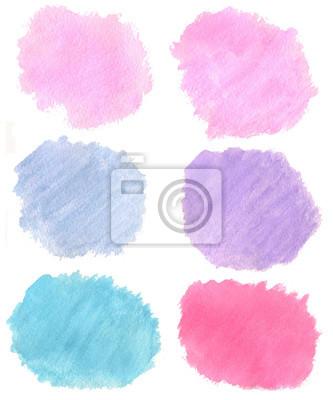 Streszczenie ręcznie rysowane prawdziwe akwarela jasny niebieski, ciemny niebieski, różowy,