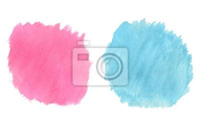 Streszczenie ręcznie rysowane prawdziwe akwarela niebieski i różowy tle. Wa