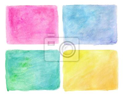 Streszczenie ręcznie rysowane prawdziwe akwarela niebieski, zielony, żółty, różowy ba