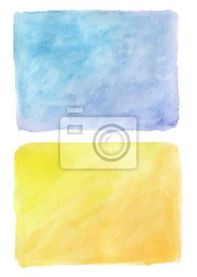 Streszczenie ręcznie rysowane prawdziwe Akwarele niebieskim i żółtym tle.
