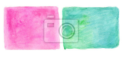 Streszczenie ręcznie rysowane zielony i różowy akwarela rzeczywistym tle. W