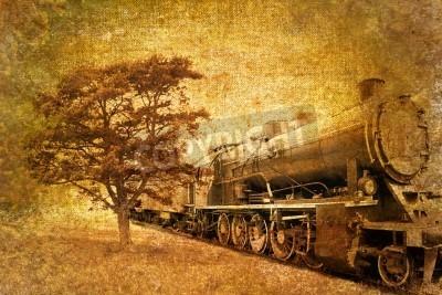 Naklejka streszczenie rocznika pociągu parowego