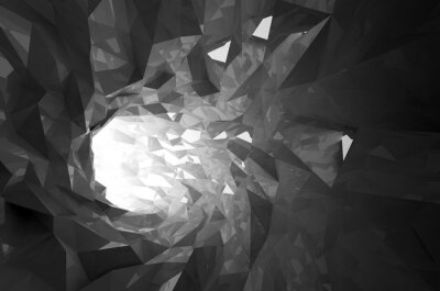 Naklejka Streszczenie świecące czarny kryształ cyfrowe tunelu 3d