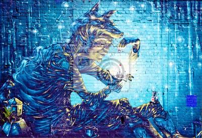 Naklejka Streszczenie szczegół graffiti mural na ścianie teksturowane
