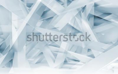 Naklejka Streszczenie tło cyfrowy, wzór wielokątne niebieski i biały dźwigary chaotyczne. Niebieski stonowanych ilustracji 3d, grafika komputerowa