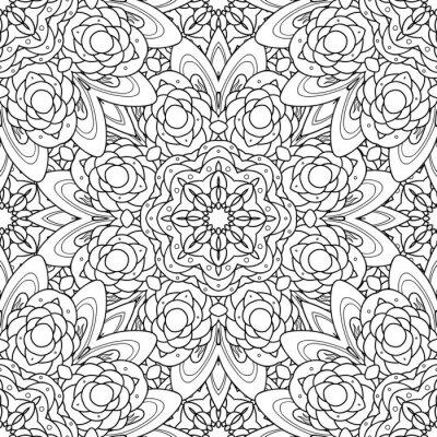 Naklejka Streszczenie wektora dekoracyjne mandala etniczne czarny i biały bez szwu.