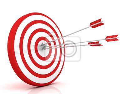 Naklejka Strzałki uderzające w centrum celu - koncepcja biznesowa sukcesu