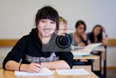 Naklejka Student w pracy domowej w klasie