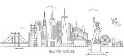 Naklejka Styl linii horyzontu w Nowym Jorku