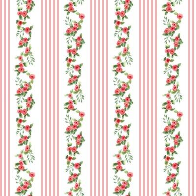 Naklejka Styl retro kwiatowy wzór z paskami