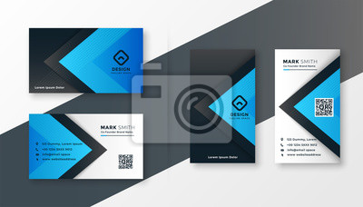 stylish blue modern business card design