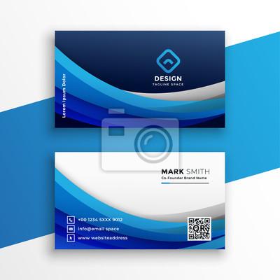 stylish blue wavy business card modern template