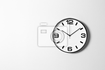 Naklejka Stylish clock and space for text on white background. Time management