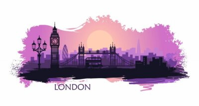 Naklejka Stylized landscape of London with big Ben, tower bridge and other attractions