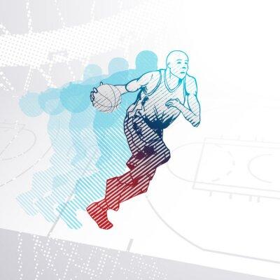 Naklejka Stylizowane Koszykarz dryblingu piłkę