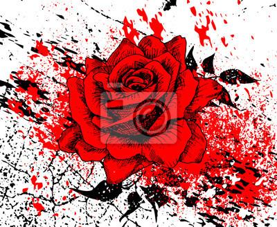 stylowa czerwona róża z plamy tuszu i tekstury pęknięć, liści, ręcznie rysowane, ilustracji wektorowych, artystycznej tle z kwiatem