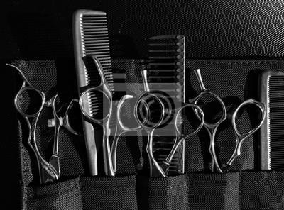 Naklejka Stylowe profesjonalne nożyczki fryzjerskie i grzebienie, koncepcja salonu fryzjerskiego, zestaw narzędzi fryzjerskich. Akcesoria do strzyżenia
