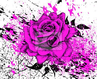 stylowy Purpurowa róża z odpryskami farby i tekstury pęknięć, liści, ręcznie rysowane, ilustracji wektorowych, artystycznej tle z kwiatem