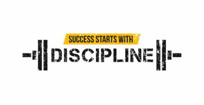 Naklejka Success starts with discipline motivational gym quote with barbell and grunge effect. Sport motivation. Gym vector design template.