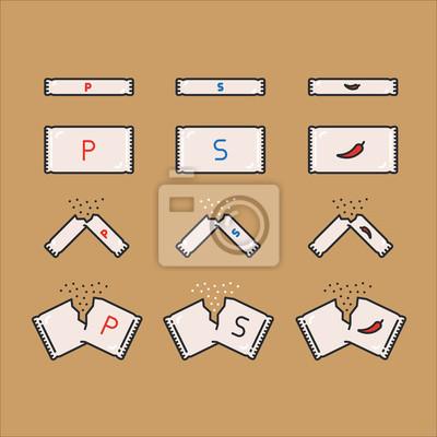 Sugar Salt Pepper Opakowanie Opakowanie Kolorowe Zarys linii prostej Ikona Obrysu Zestaw Piktogramów Symbol Set Collection