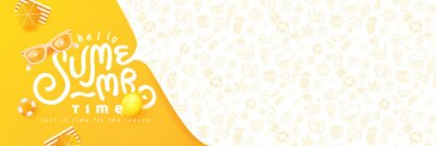 Naklejka Summer banner design with beach accessories on the yellow background and copy space.