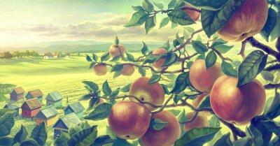 Naklejka  Summer landscape with apple branches. Digital paint.