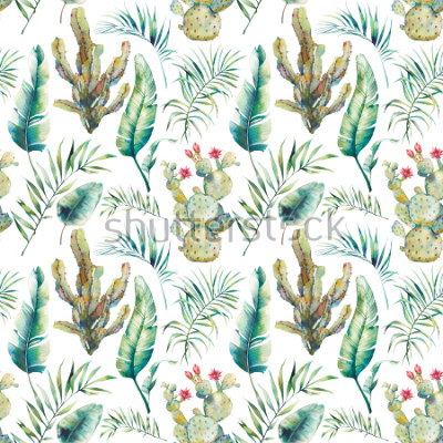 Naklejka Summer palm tree, cactus and banana leaves seamless pattern. Watercolor green branches and flowering succulent on white background. Exotic wallpaper design